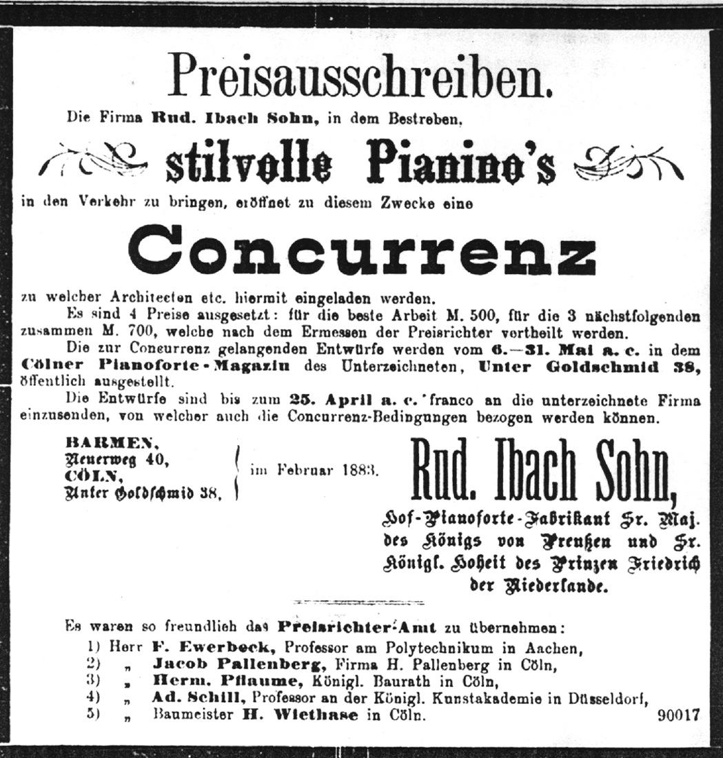 1883 –  1. Designwettbewerb für Musikinstrumente